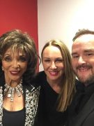 Alex with Dame Joan Collins and Alyn Waterman