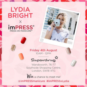Lydia Bright imPRESS Superdrug Launch